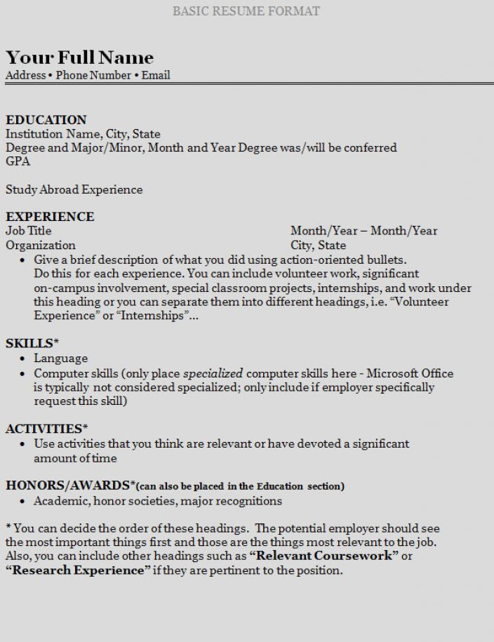 How to make a resume right out of college