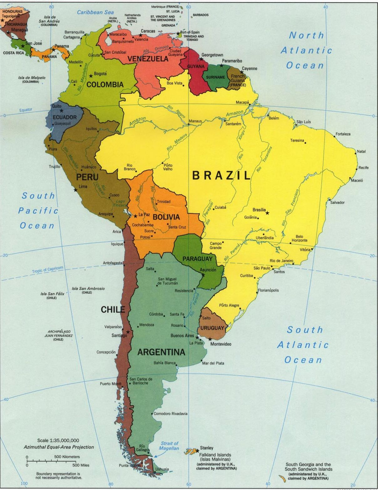 South America Labeled Map