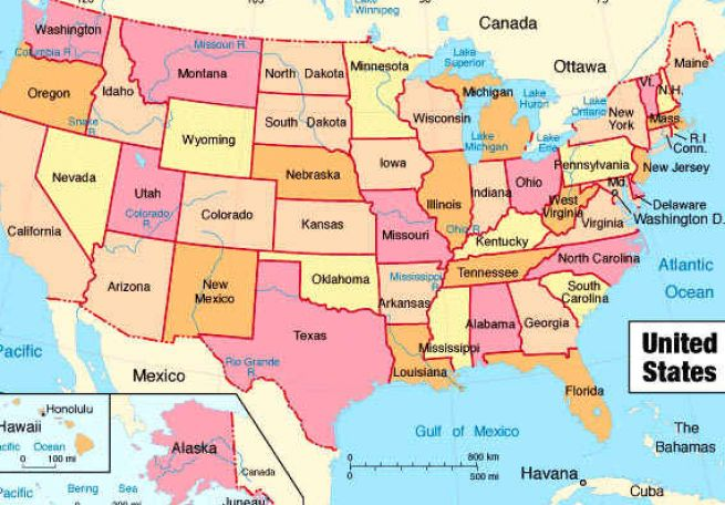 United States Labeled Map Free Drawing Tutorial And Manual Online - Us labeled state map