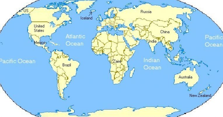Labeled map of world printable pictures 4