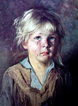 Little girl crying painting pictures 2