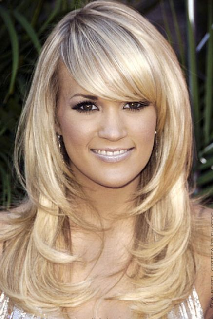 long layered hairstyles with side bangs. Side long layered hair with