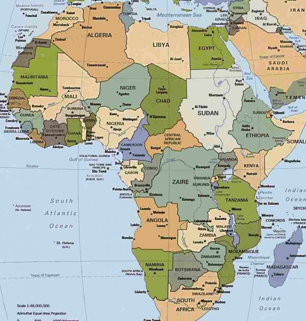 Map of africa with countries and capitals labeled pictures 1
