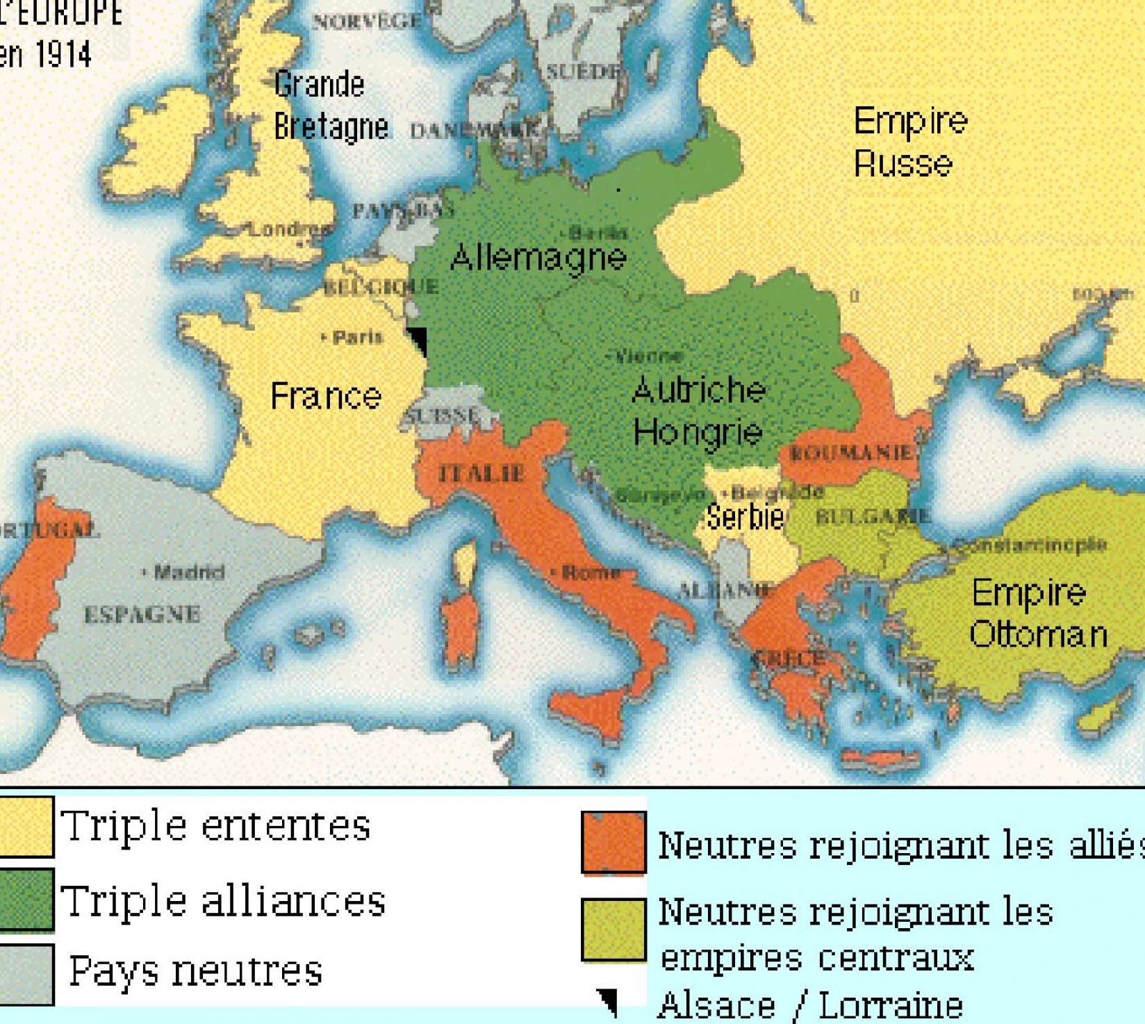 map of europe 1914 alliances