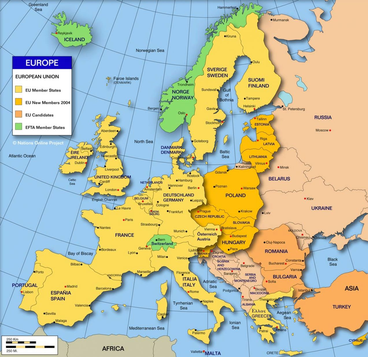 Map of europe countries and capitals pictures 1