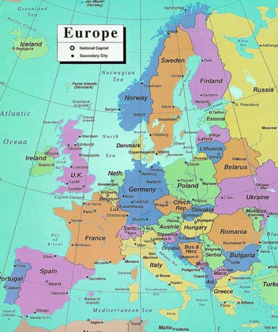 Map Of European Countries And Capitals