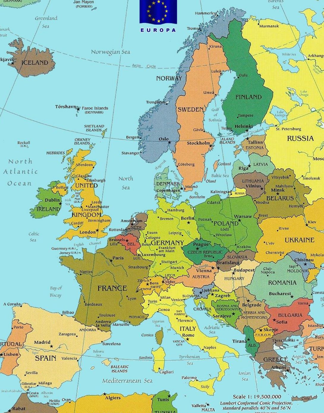Map of europe countries only pictures 2
