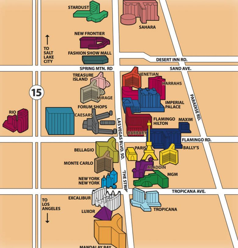 map of las vegas strip hotels. Las vegas strip map