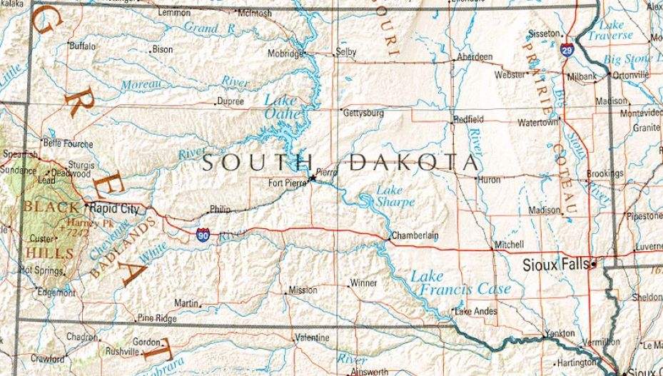 Map Of South Dakota With Cities