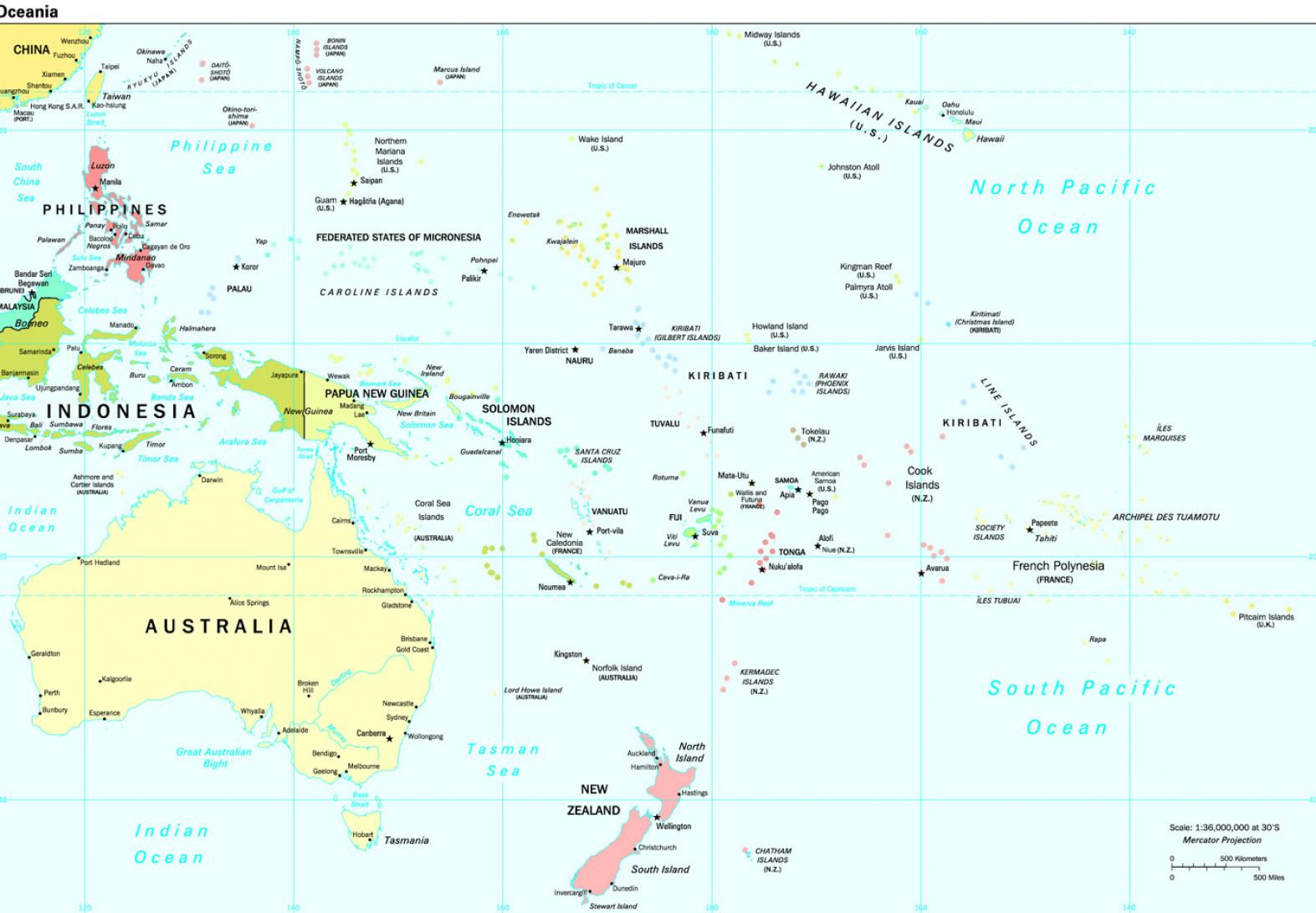 pacific ocean map with islands - photo #11