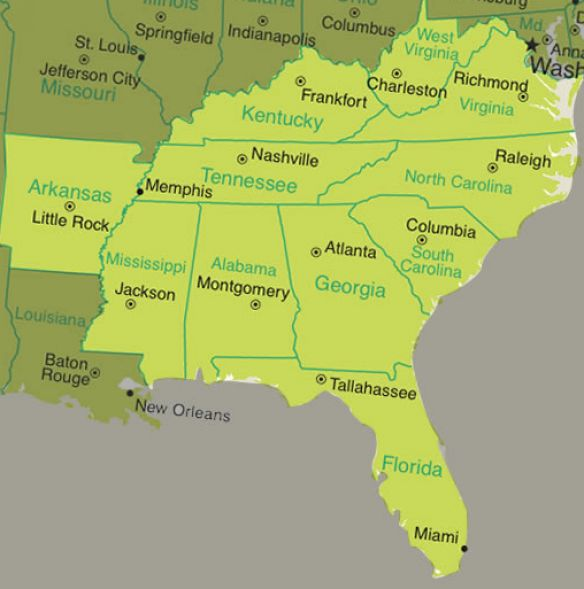 Map Of Southeast Region States Pictures to Pin on Pinterest PinsDaddy