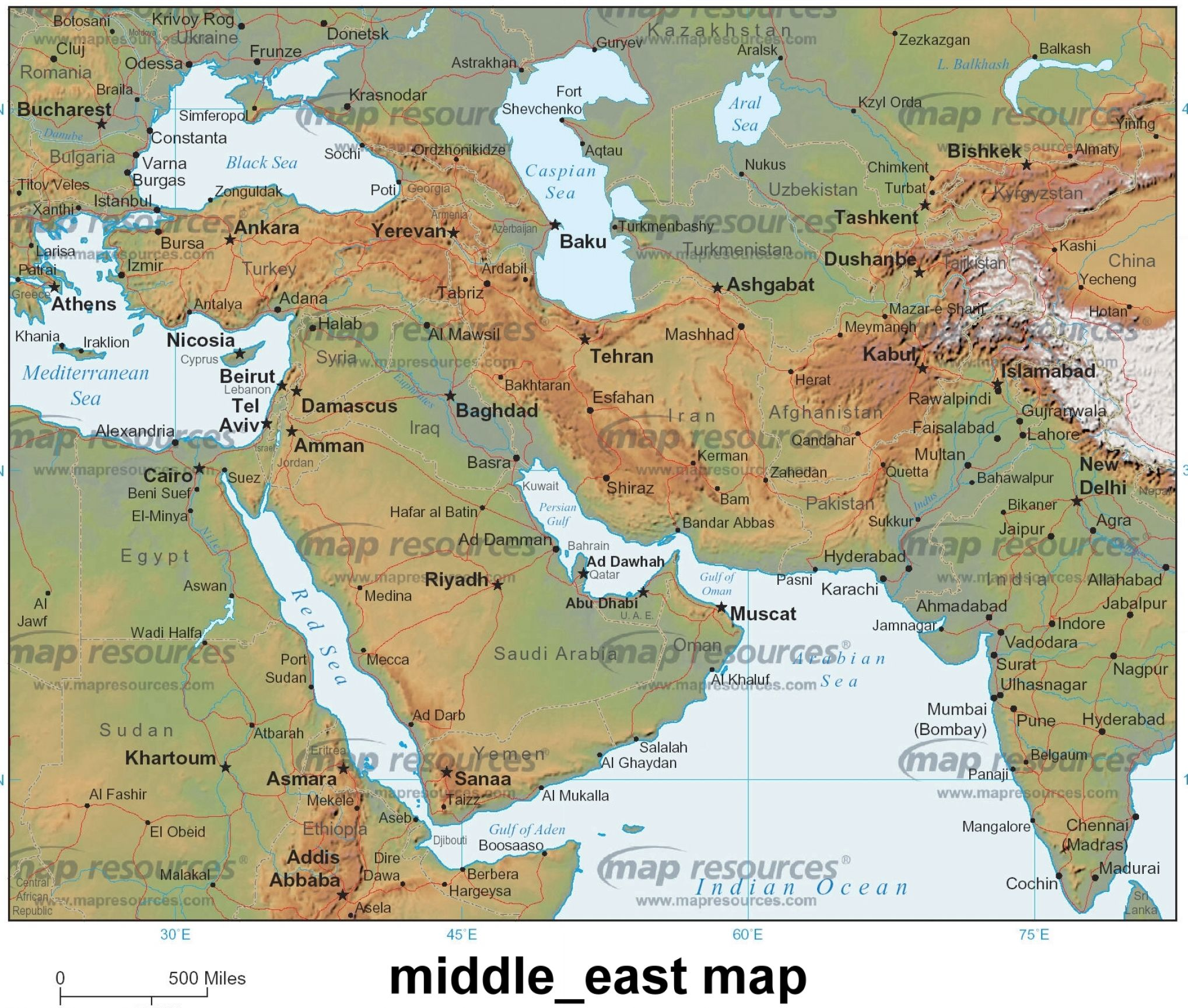 The Physical Map of Middle East Bing images