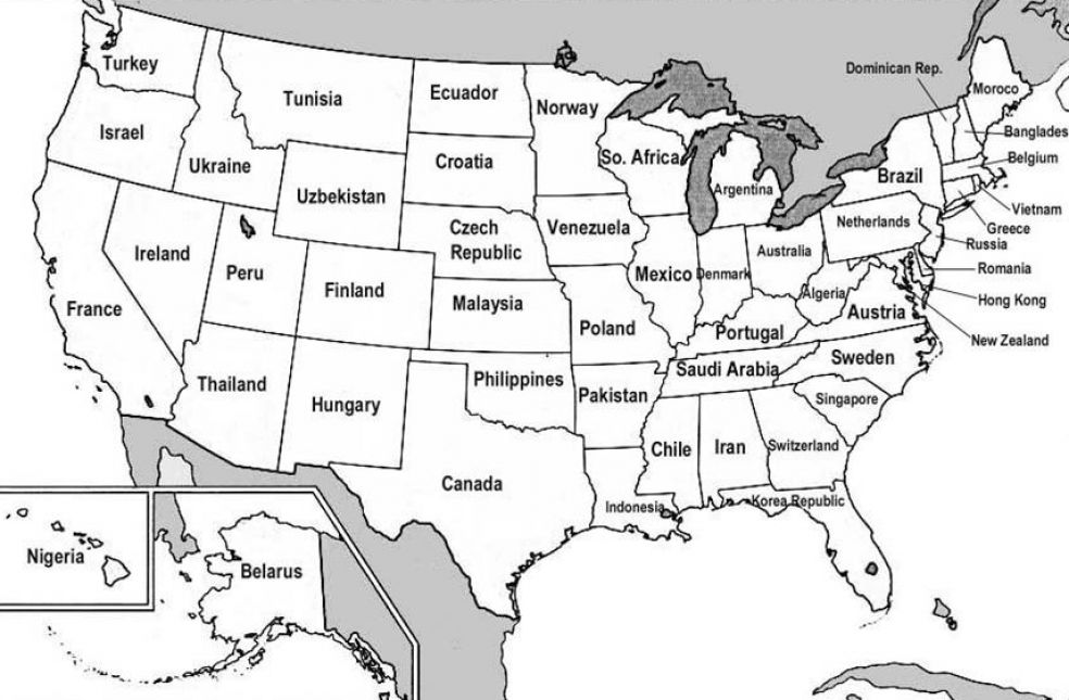map of the united states with states labeled 2