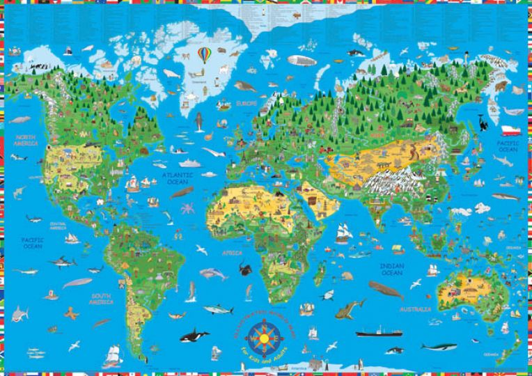 the world map in color. The World Free Kids Coloring