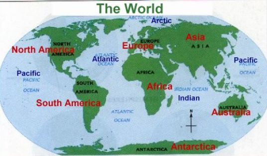 Map of the world with continents and oceans labeled pictures 4