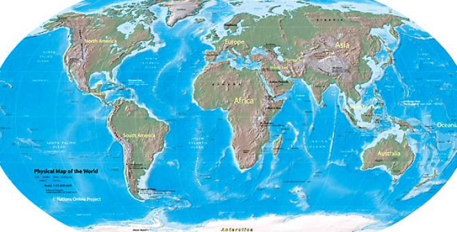 continents of world. World continent map