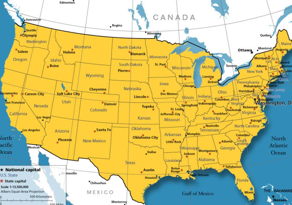 map of us cities. United states map with major