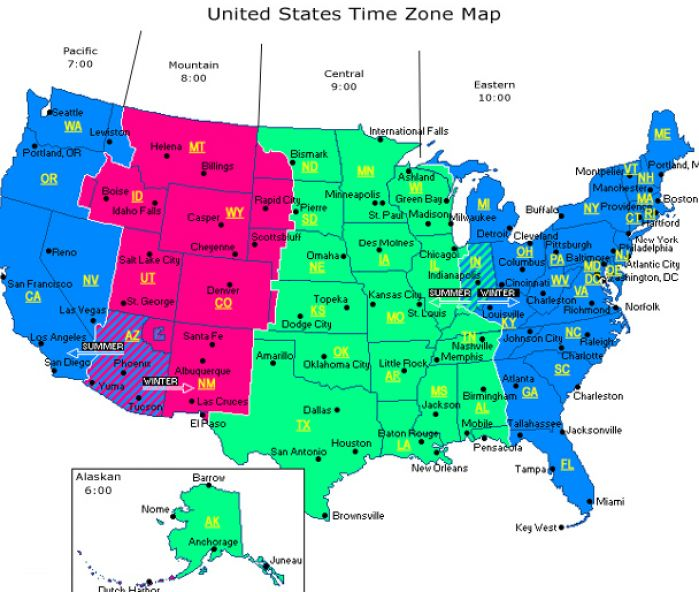 time zone map with times. United States Time Zone Map .