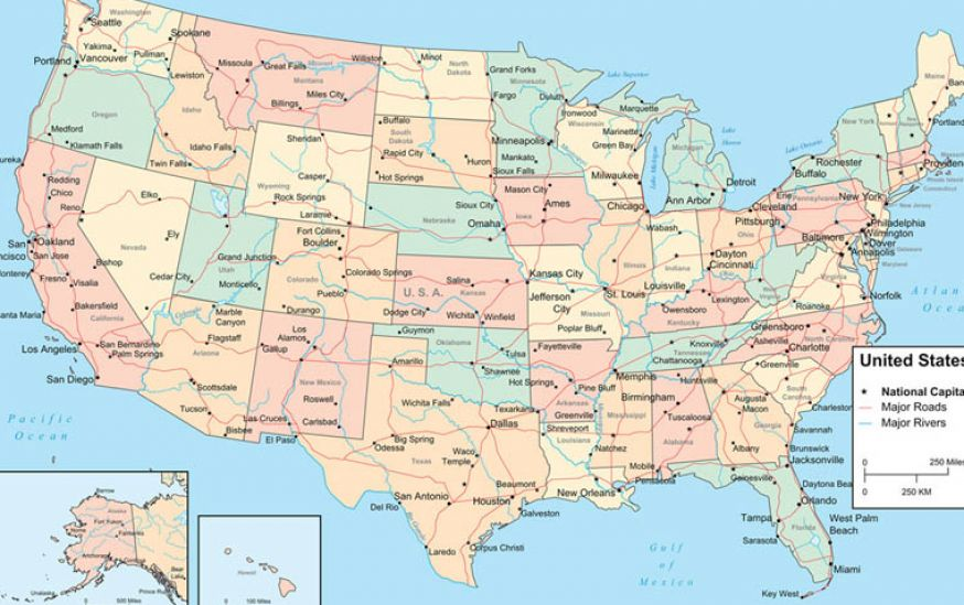 Us Map Including Rivers Us Free Printable US Maps - Maps of usa rivers
