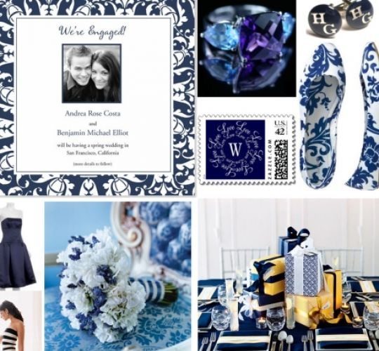Navy and coral wedding centerpieces for Navy blue wedding theme ideas