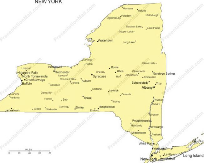 New York State Maps With Cities New York State Map With Cities