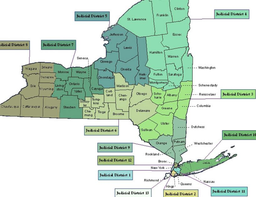 New york state map with counties