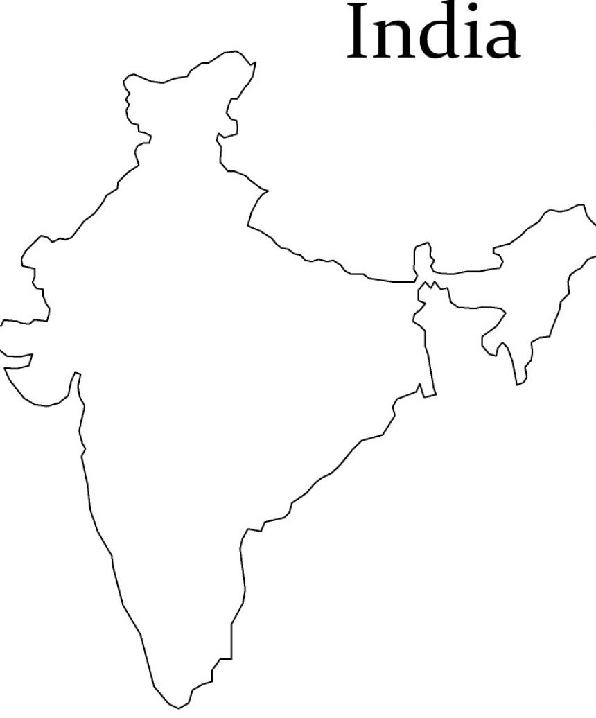 India Map Outline Sketch Coloring Page