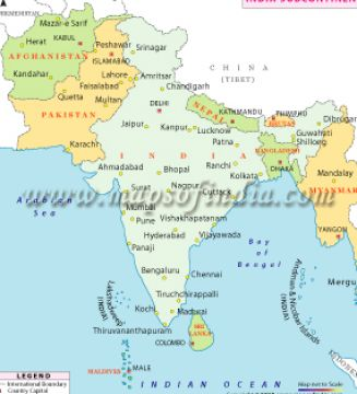 outline map of india with neighbouring countries 4