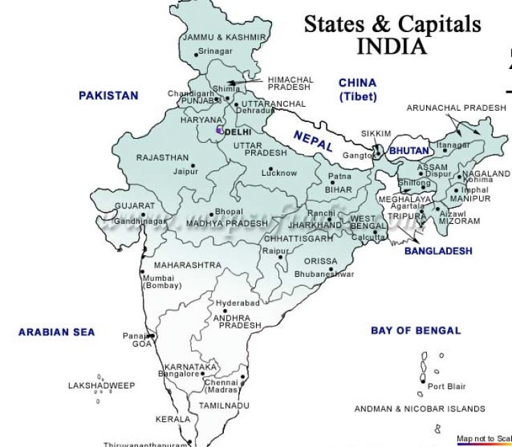 Outline map of india with states and capitals pictures 1