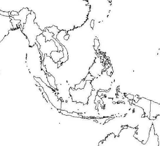 east asia map blank. Outline map of south east asia
