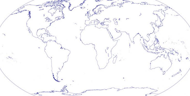 the world map outline. Basic outline map of the world