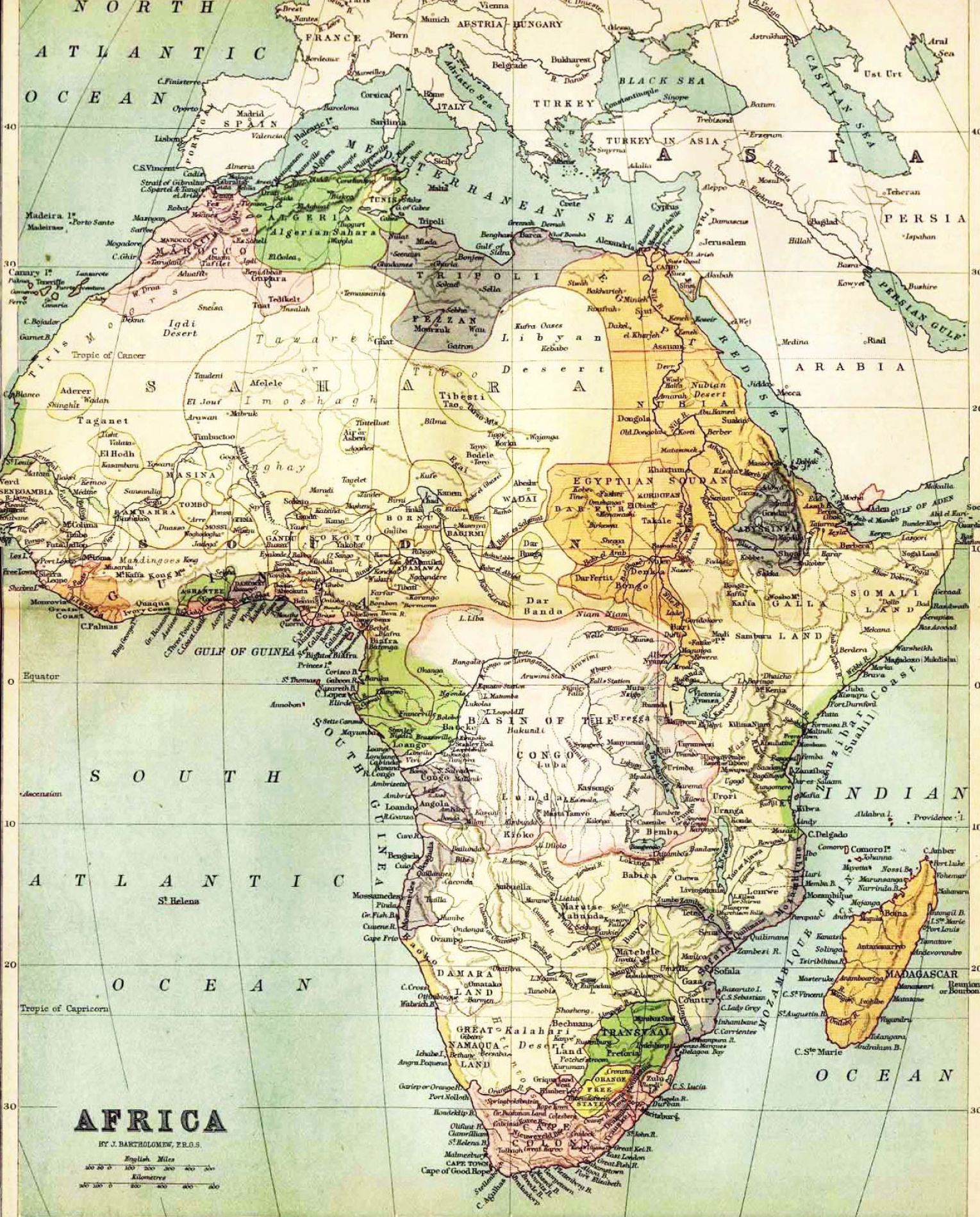 Physical map of africa with countries pictures 1