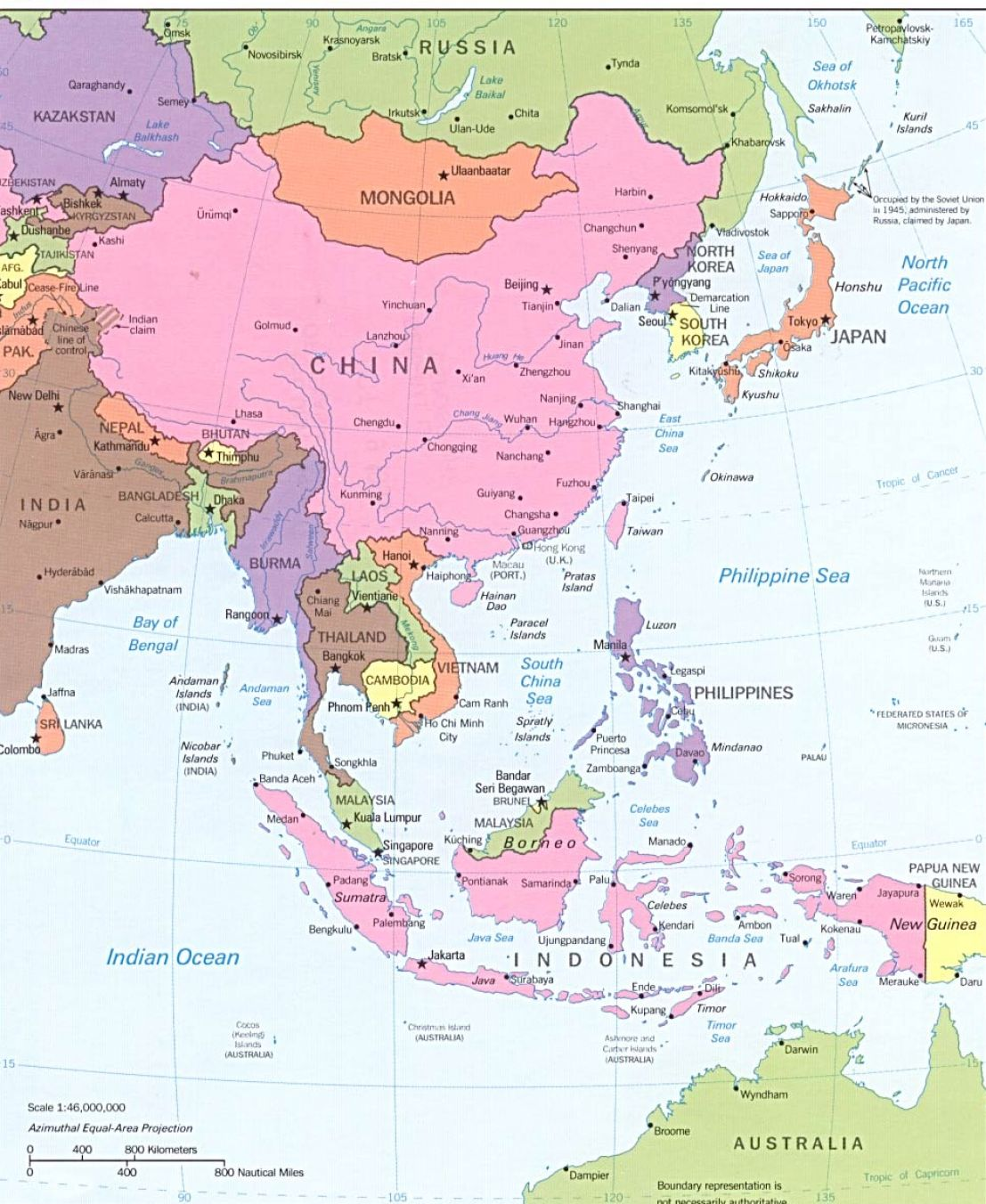 Labeled Physical Map Of Asia 19