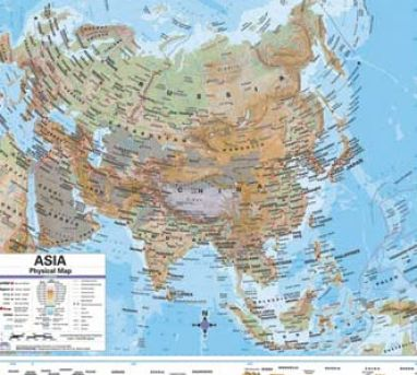 Labeled Physical Map Of Asia 38