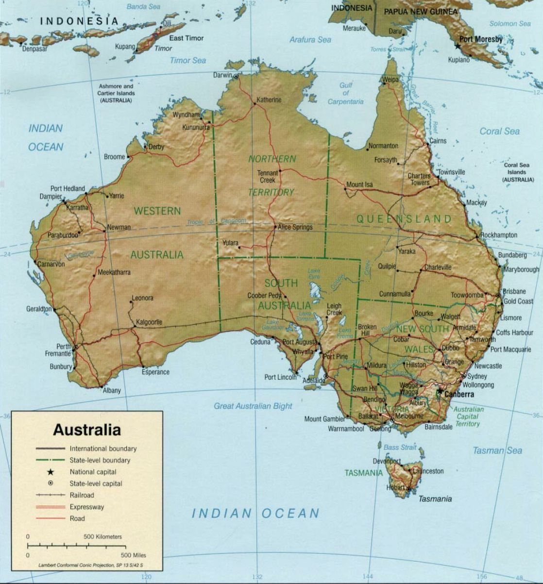 Physical Map of Australia Bing images