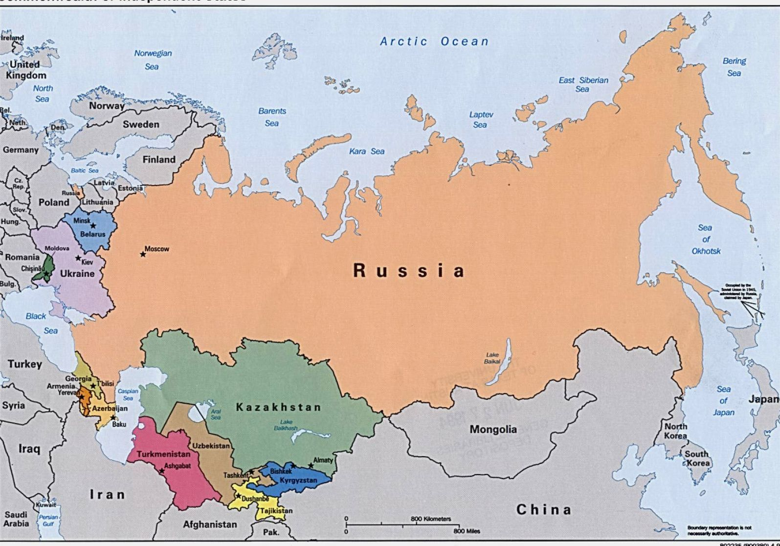 political map of russia and surrounding countries 1