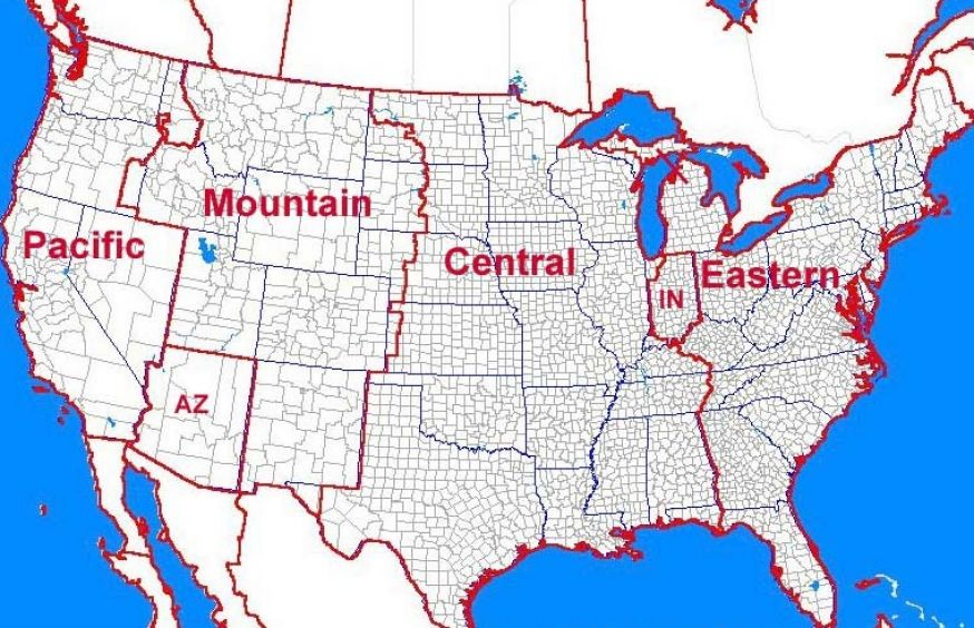 Time Zone Map USA Printable on Usa Map With Time Zones