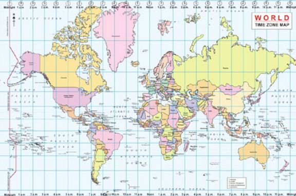 Comprehensive image with printable timezone map