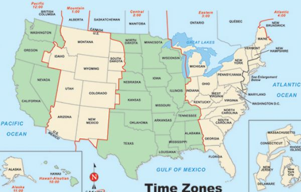Printer Friendly Time Zone Map for Pinterest