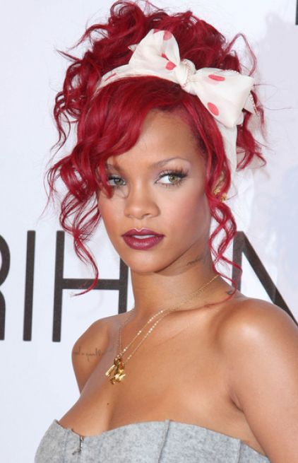 rihanna pics with red hair. rihanna red hair long.
