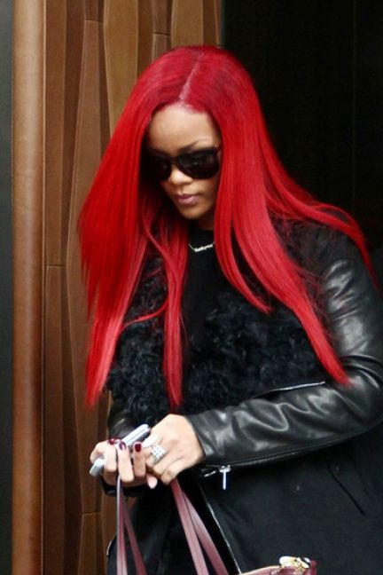 Rihanna long hair red pictures 2