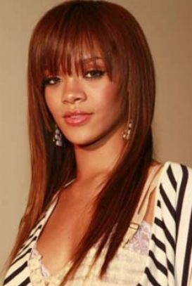 Rihanna long red hair fringe pictures 1