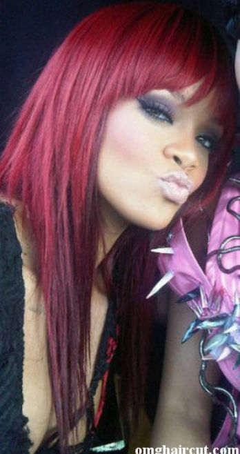 Rihanna long red hair fringe pictures 2