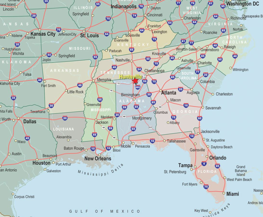 Southeast us map with cities healty living guide
