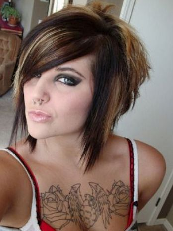 Emo Girl with Short Brown Hair