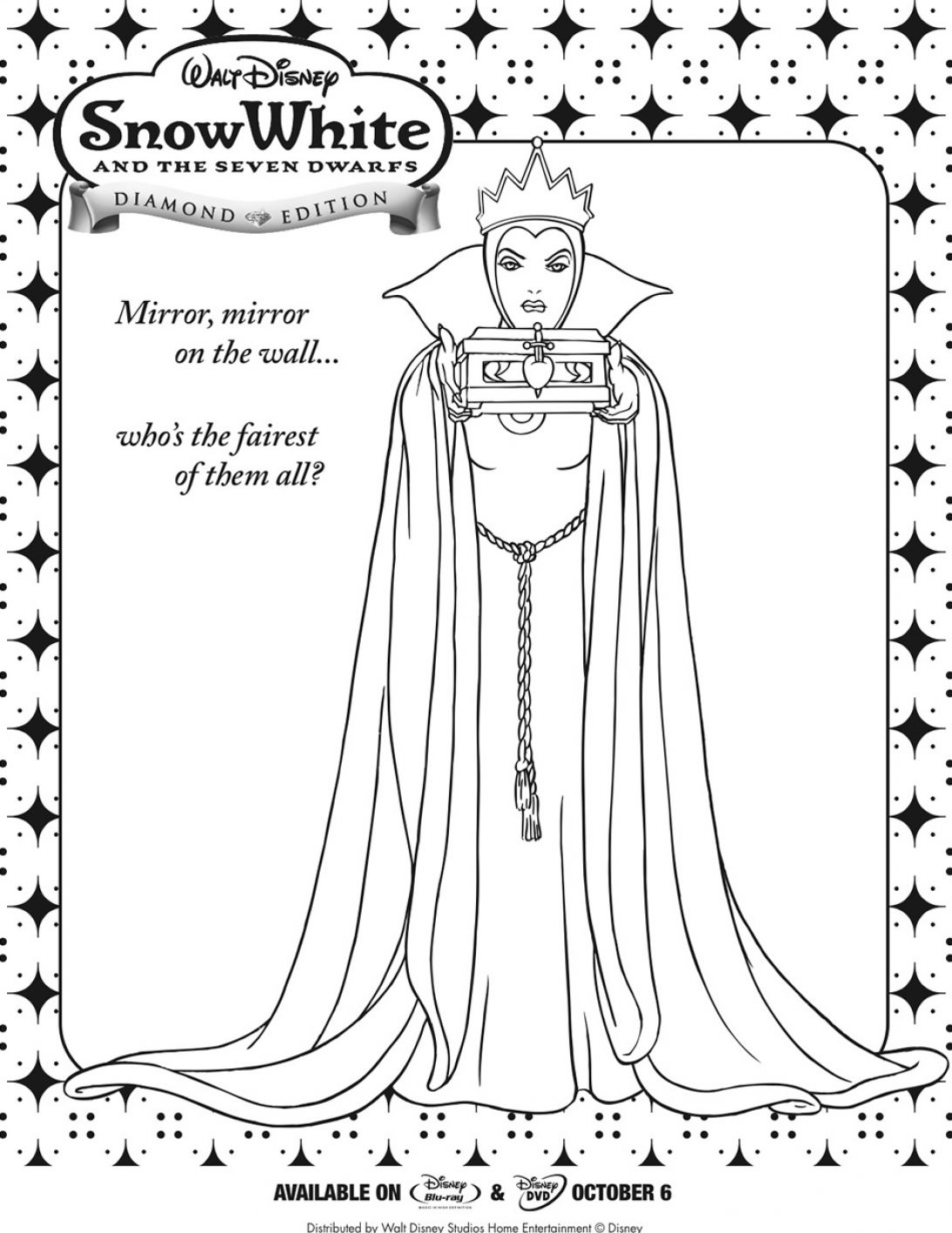 Free snow white witch coloring pages for Evil stepmother coloring pages