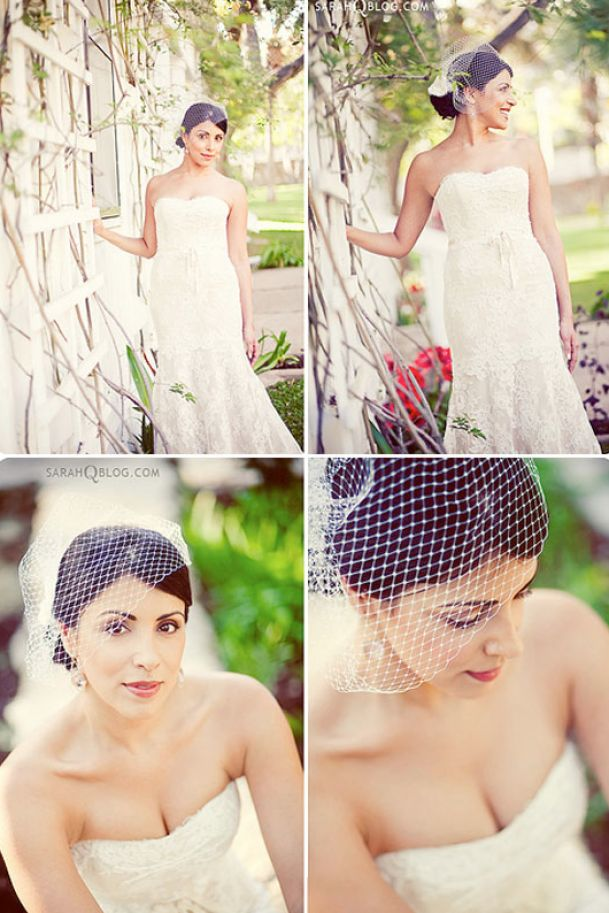 Wedding hairstyles for long hair with birdcage veil pictures 3